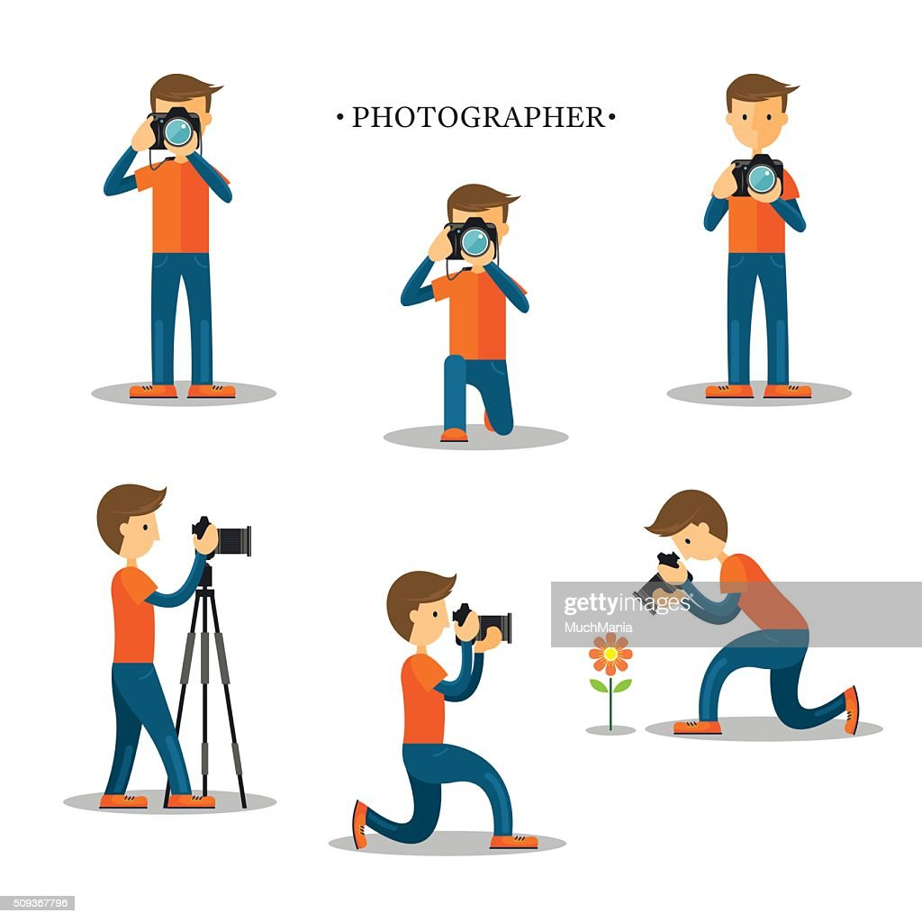 Photographer with Camera in Action Set