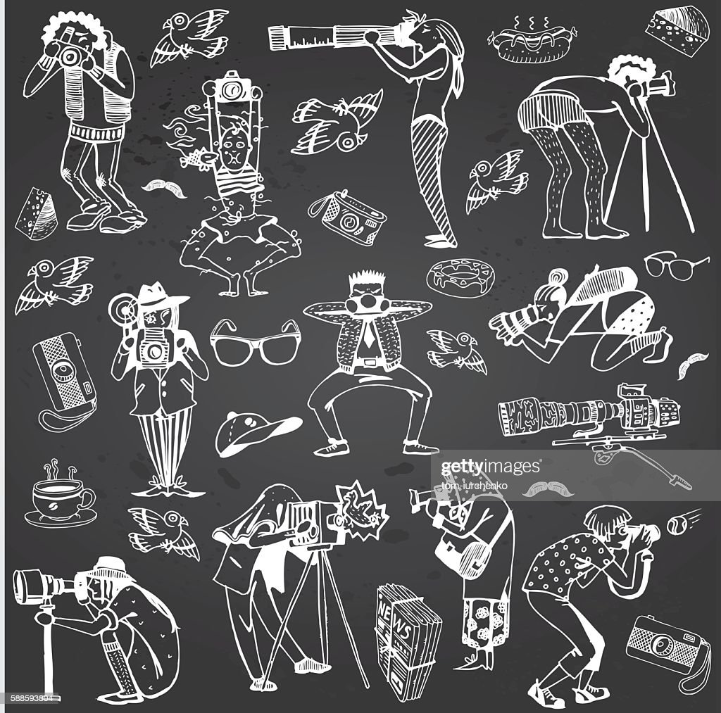 Photographers Collection. Characters Hand-drawn isolated on Gray Chalkboard.