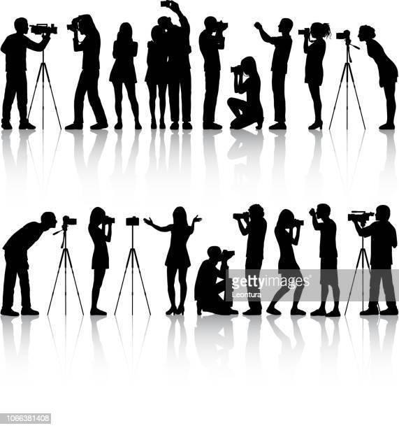 photographers - film crew stock illustrations