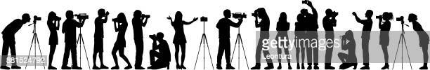photographers - camera tripod stock illustrations, clip art, cartoons, & icons