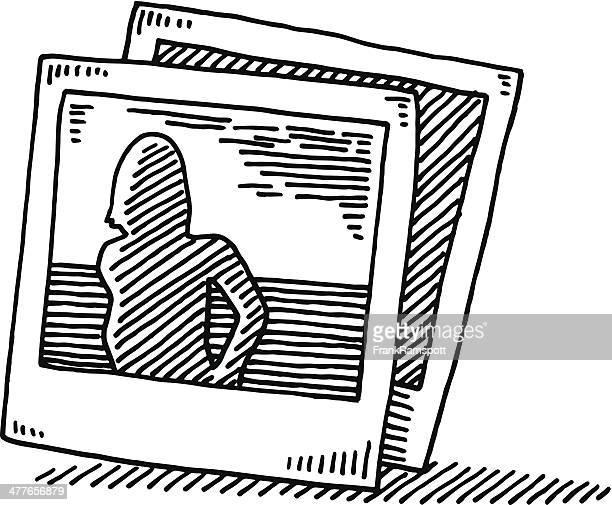 fotodrucke symbol abbildung - schwarzweiß bild stock-grafiken, -clipart, -cartoons und -symbole