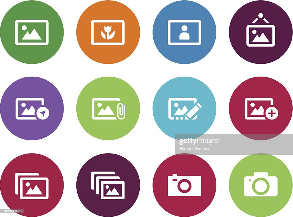 Photographs and Camera circle icons.