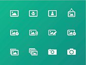 Photographs and Camera icons on green background.