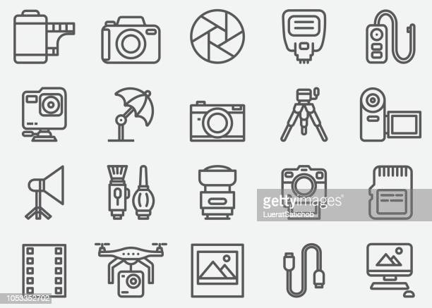 stockillustraties, clipart, cartoons en iconen met fotografie en pictogrammen van de lijn van camera accessoires - photography