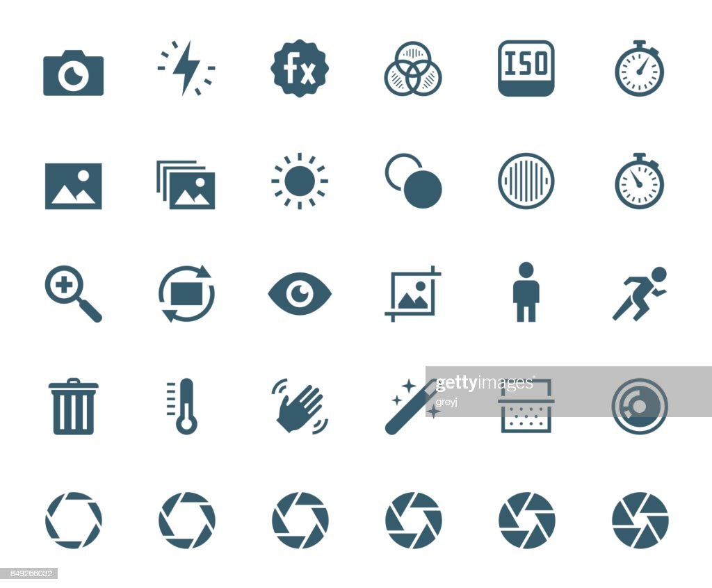 Photography and digital camera related vector icon set