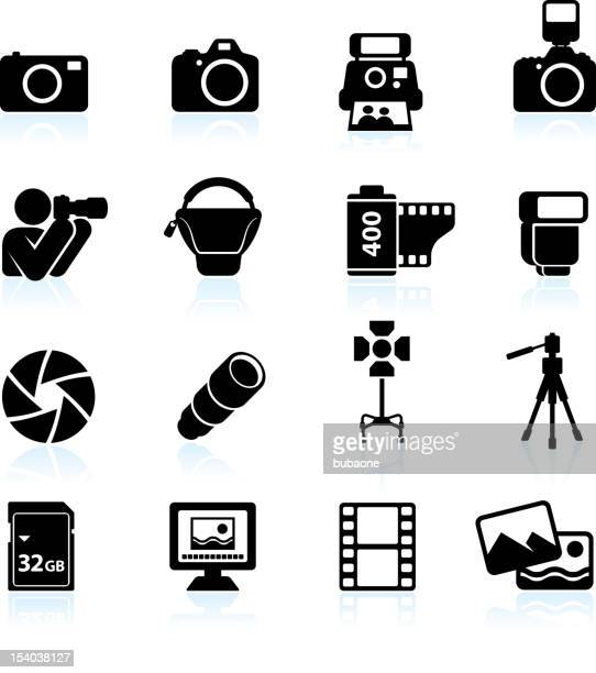 Photography black & white royalty free vector icon set
