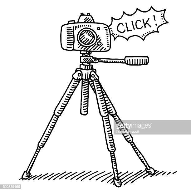 photography camera tripod click drawing - camera tripod stock illustrations, clip art, cartoons, & icons