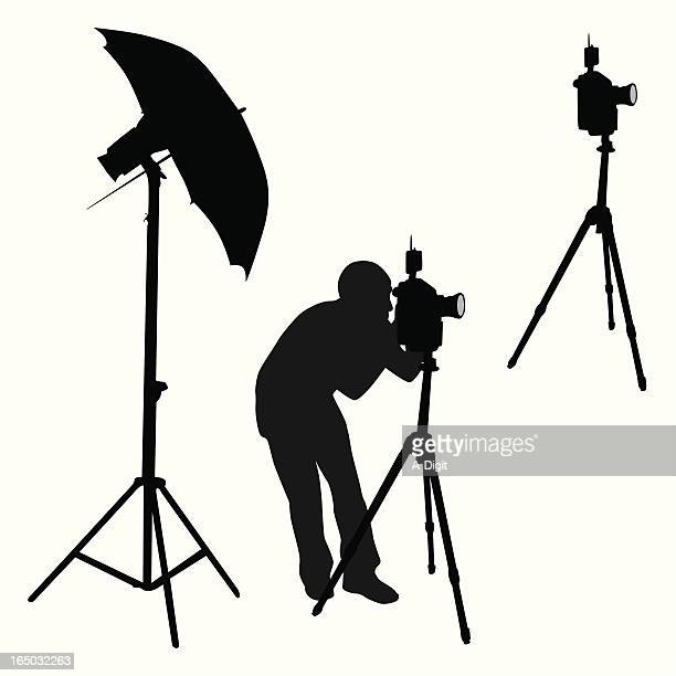 photography elements vector silhouette - camera tripod stock illustrations, clip art, cartoons, & icons