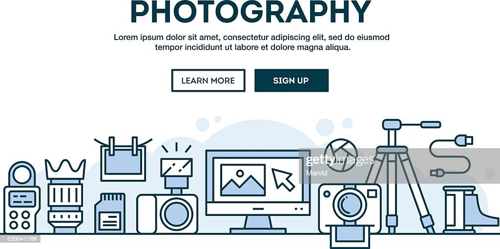 Photography equipment, concept header, flat design thin line style