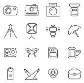 Photography Equipment Icons Thin Line Vector Illustration Set