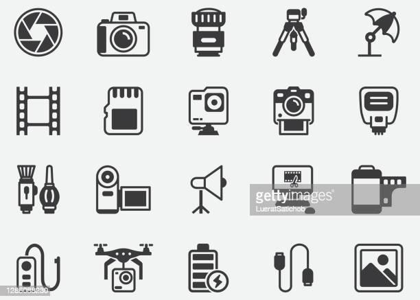 illustrations, cliparts, dessins animés et icônes de photographie, film , shutter , accessoire , montage vidéo, film industrie pixel perfect icons - photographe professionnel