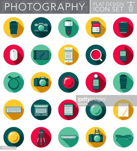 Photography Flat Design Icon Set with Side Shadow