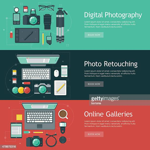photography flat design web banners icon sets - light meter stock illustrations, clip art, cartoons, & icons