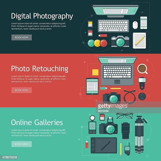 Photographie à la conception Web bannières ensembles d'icônes