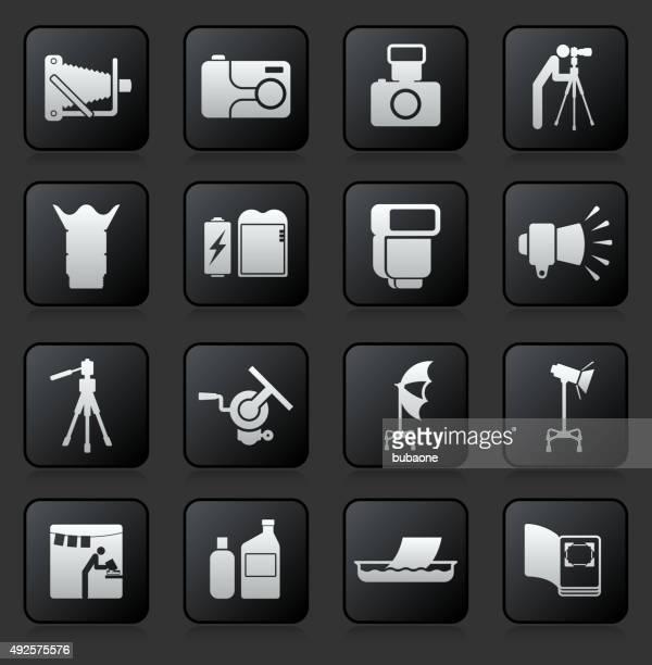 photography icon set on black background - proofreading stock illustrations, clip art, cartoons, & icons