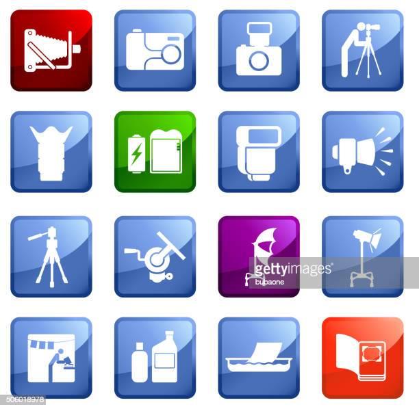 photography icon set on white background. - proofreading stock illustrations, clip art, cartoons, & icons