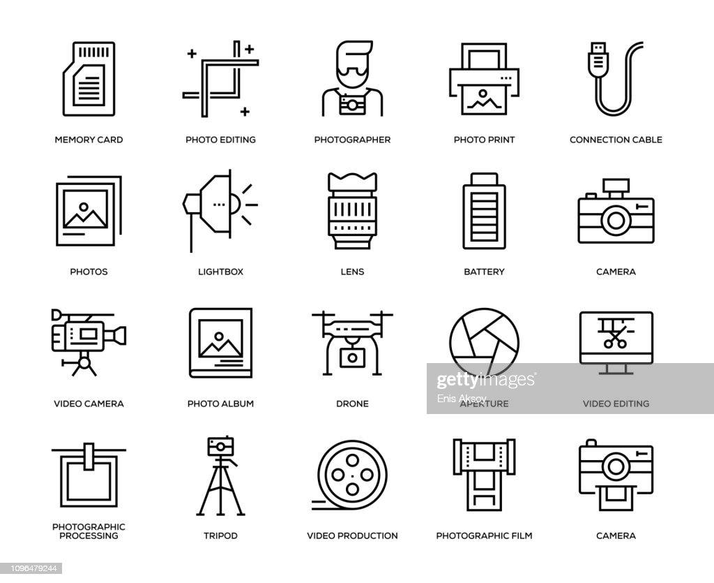 Photography Icon Set : stock illustration