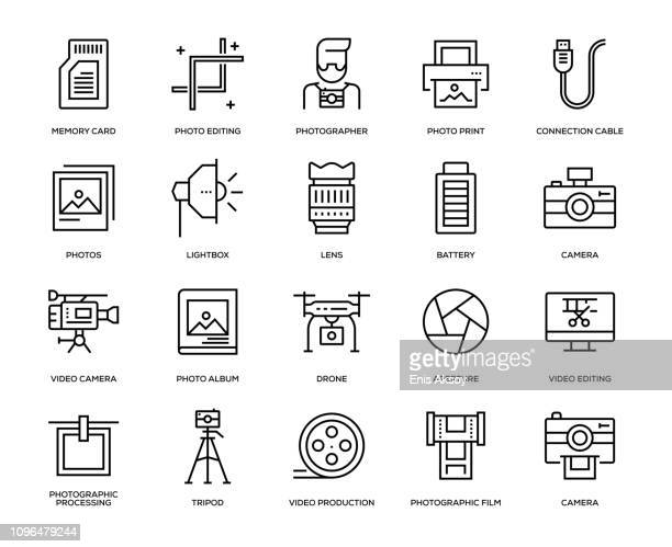 photography icon set - camera tripod stock illustrations, clip art, cartoons, & icons