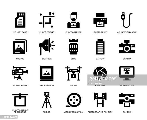 photography icon set - performing arts event stock illustrations