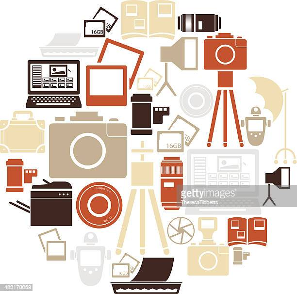 photography icon set - light meter stock illustrations, clip art, cartoons, & icons