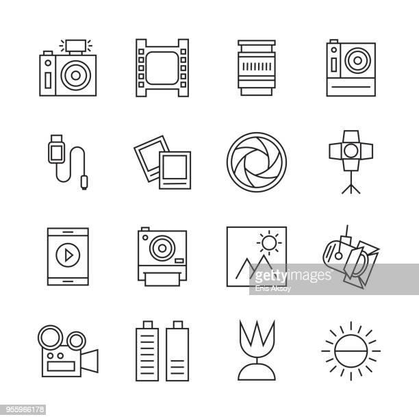photography icon set - film camera stock illustrations, clip art, cartoons, & icons