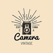 Photography icon. Vector vintage old camera label, badge, emblem. Hand sketched illustration for studio, store etc.