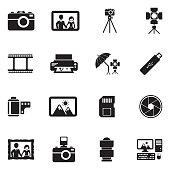 Photography Icons. Black Flat Design. Vector Illustration.