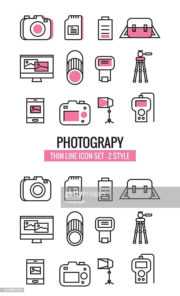 Photography icons. flat thin line design 2 Set. vector eps10