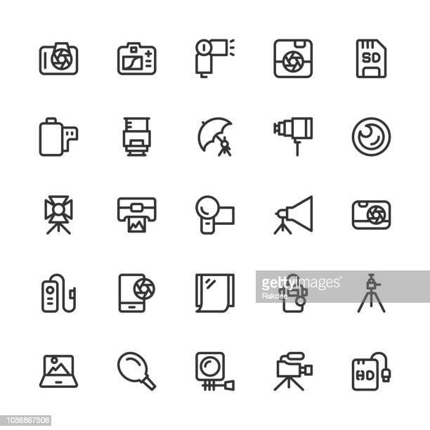 photography icons - line series - body camera stock illustrations