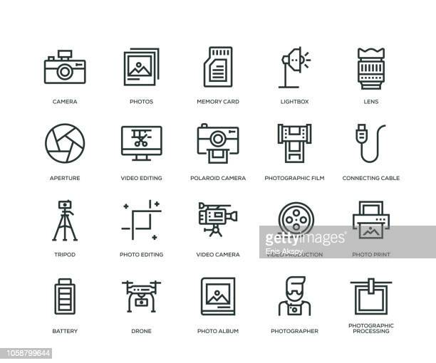 stockillustraties, clipart, cartoons en iconen met fotografie icons - line serie - foto