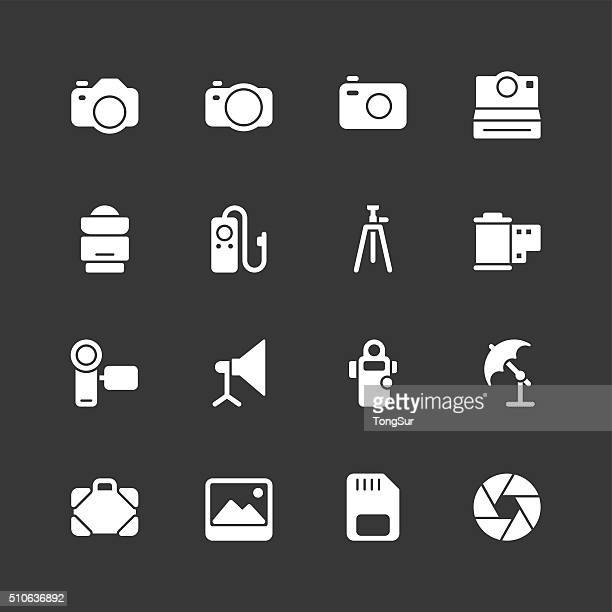 photography icons - regular - white series - camera tripod stock illustrations, clip art, cartoons, & icons