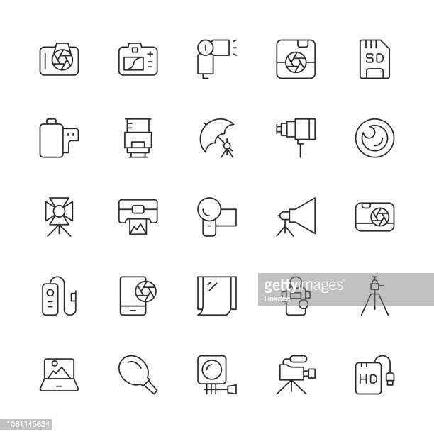 photography icons - thin line series - light meter stock illustrations, clip art, cartoons, & icons