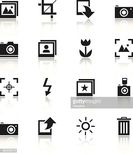 ilustraciones, imágenes clip art, dibujos animados e iconos de stock de iconos de fotografía - camara reflex
