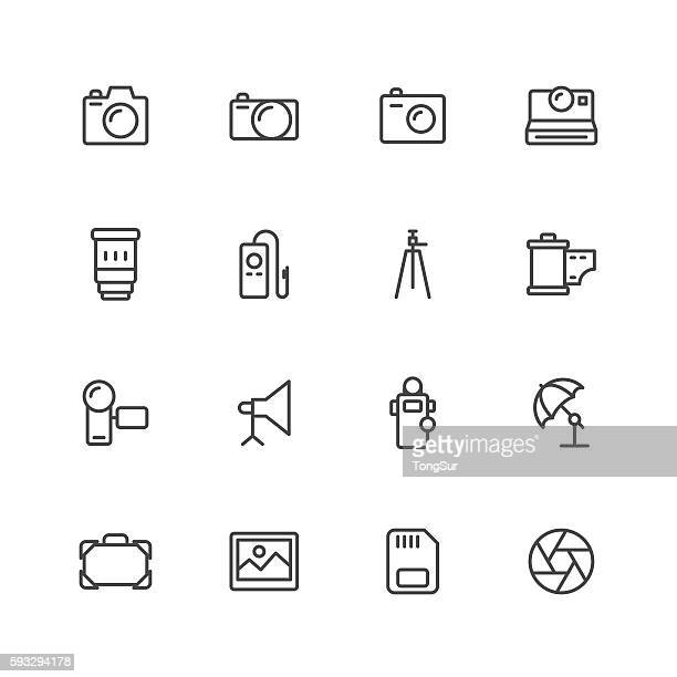 photography icons - camera tripod stock illustrations, clip art, cartoons, & icons