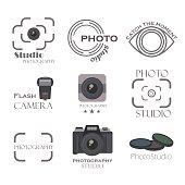 Photography label vector set.