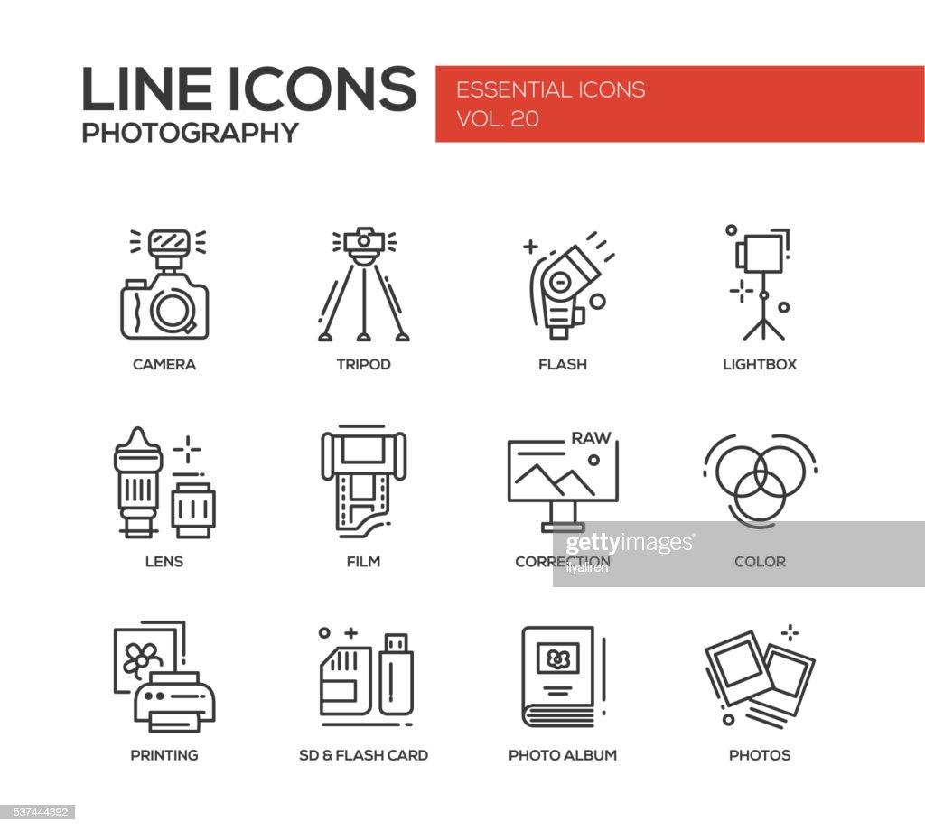 Photography line design icons set