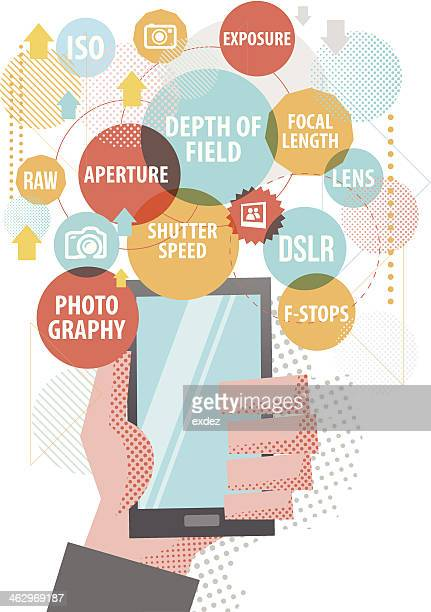 ilustraciones, imágenes clip art, dibujos animados e iconos de stock de fotografía en smartphone - doble exposicion negocios