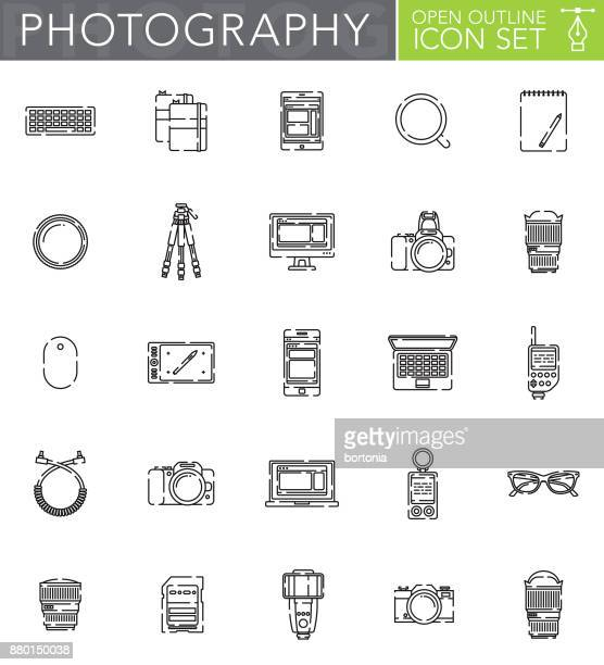 Photography Open Outline Icon Set in Flat Design Style