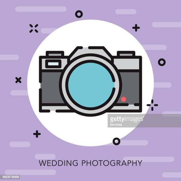 ilustraciones, imágenes clip art, dibujos animados e iconos de stock de icono de boda fotografía contorno abierto - camara reflex
