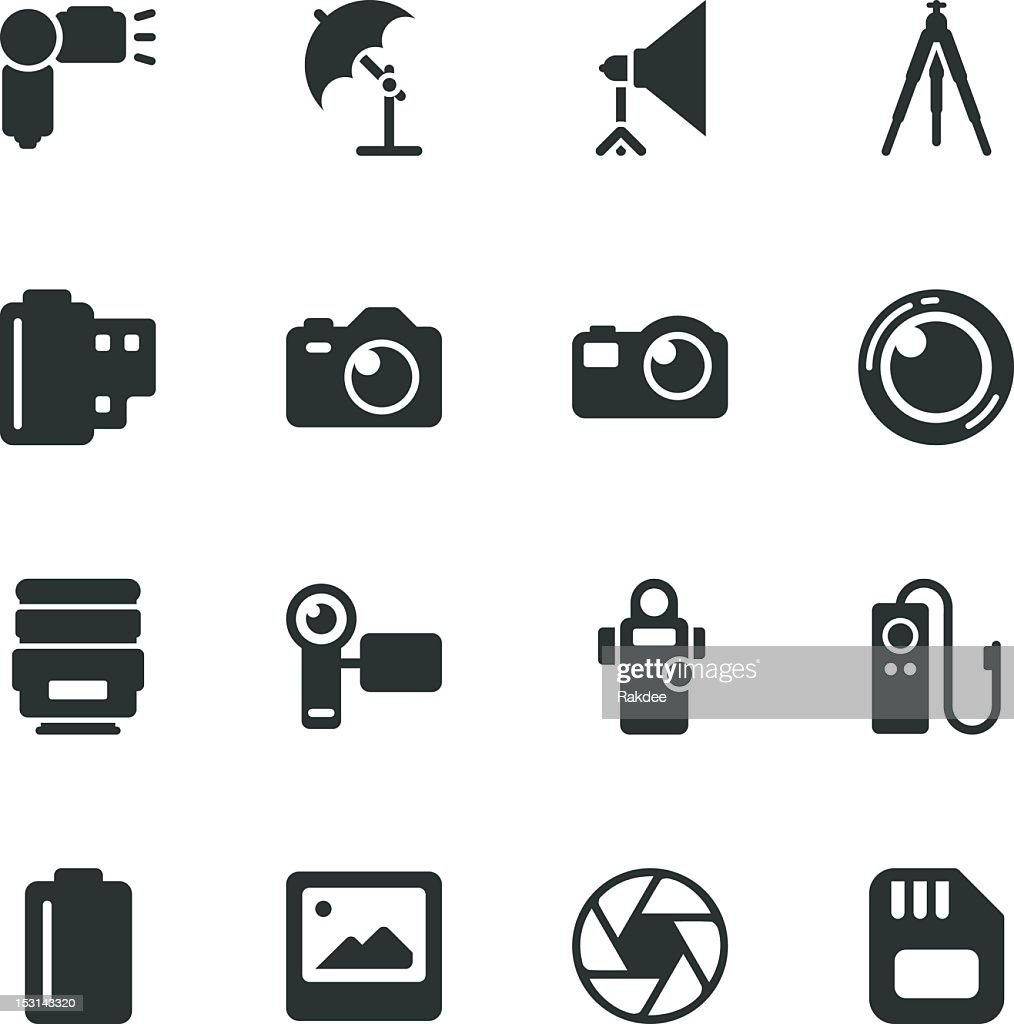 Photography Silhouette Icons : stock illustration