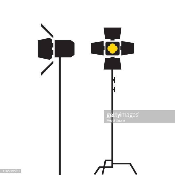 photography studio lighting equipment - camera stand stock illustrations, clip art, cartoons, & icons