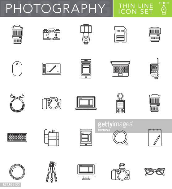 photography thin line icon set in flat design style - light meter stock illustrations, clip art, cartoons, & icons