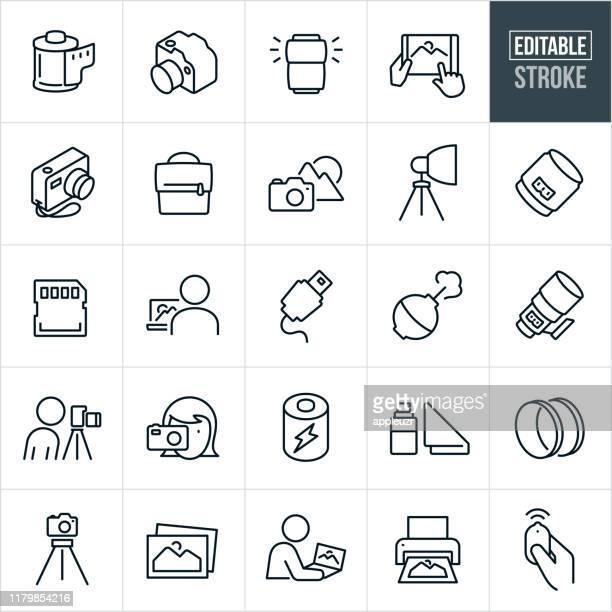 ilustrações, clipart, desenhos animados e ícones de ícones finos da linha da fotografia-curso editable - fotografia imagem