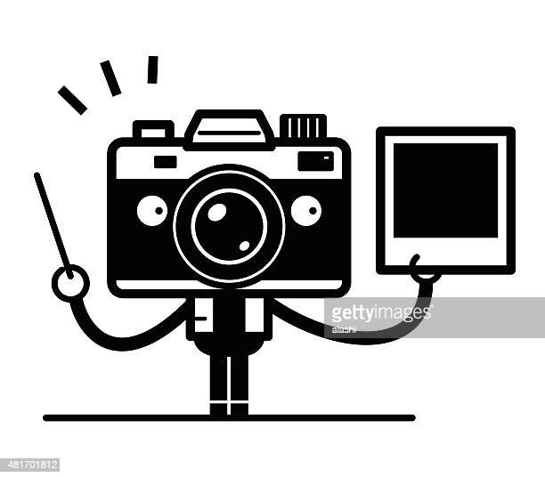 photography tutorials, unique camera character teaching with a photo (picture) - camera stand stock illustrations, clip art, cartoons, & icons