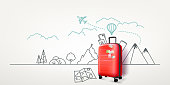 Photoreal red suitcase with cityscape background. World travel vector concept
