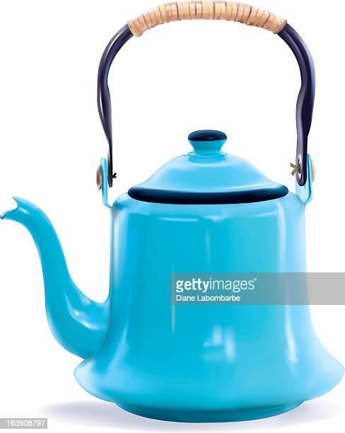 Photo-realistic Blue Coffee Pot