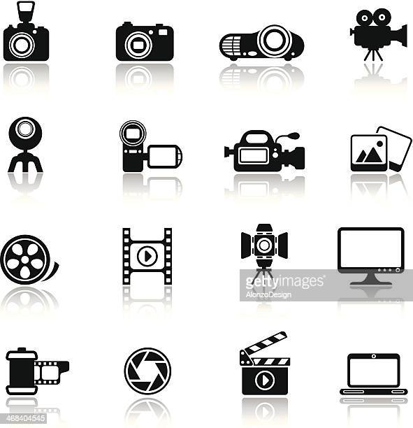 photo-video icon set - video camera stock illustrations, clip art, cartoons, & icons