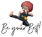 Phrase be your best with boy in karate outfit