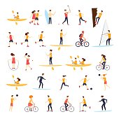 Physical activity people engaged in outdoor sports, running, cycling, skateboarding.