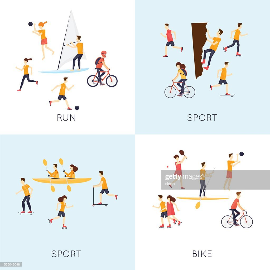 Physical activity people engaged in outdoor sports.